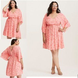COPY - NEW TORRID Coral Floral Challis Lattice Ba…